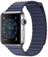 Apple Watch Series 2 42mm cassa in acciaio inossidabile argento con cinturino loop in pelle Grande blu notte [Wifi]