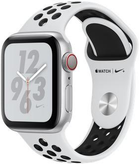 Apple Watch Nike+ Serie 4 40 mm alloggiamento in alluminio argento con Bracciale sportivo Nike pure Platino/nero [Wi-Fi + Cellular]