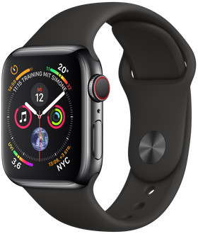 Apple Watch Series 4 40mm caja de acero inoxidable en negro espacial y correa deportiva negra [Wifi + Cellular]