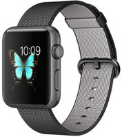 Apple Watch Sport 42 mm space gray bracelet en nylon tissé  noir [Wi-Fi]