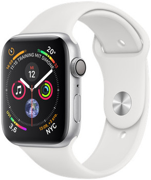 Apple Watch Series 4 44mm caja de aluminio en plata y correa deportiva blanca [Wifi]