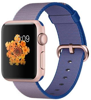Apple Watch Sport 38mm oro rosa con correa de nailon trenzado azul eléctrico [Wifi]
