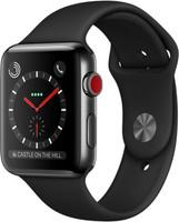 Apple Watch Series 3 42mm cassa in acciaio inossidabile nero siderale con cinturino Sport nero [Wifi + Cellular]