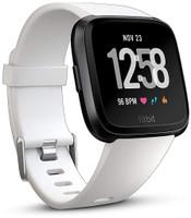 Fitbit Versa 34mm aluminium nero con cinturino in silicone bianco [Wifi]