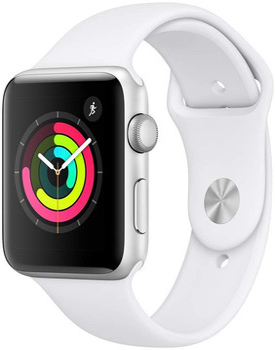 Apple Watch Series 3 42mm cassa in alluminio argento con cinturino Sport azzurro bianco [Wifi]
