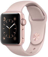 Apple Watch Series 1 38 mm roségoud aluminium met sportarmband rozenkwarts [wifi]