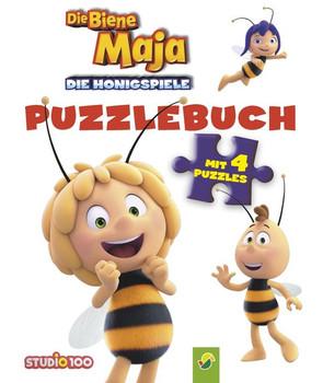 Biene Maja Die Honigspiele Puzzlebuch. Mit 4 Puzzles á 6 Teilen - Lena Steinfeld  [Gebundene Ausgabe]