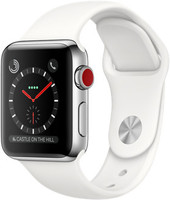 Apple Watch Series 3 38mm Caja de acero inoxidable plata con correa deportiva blanco suave [Wifi + Cellular]