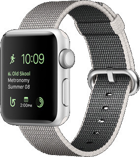 Apple Watch Series 2 38 mm zilver aluminium met bandje van geweven nylon parelgrijs [wifi]
