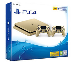 Sony PlayStation 4 slim 500 GB [incl. 2 draadloze controllers] goud