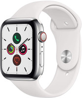 Apple Watch Series 5 44 mm Caja de acero inoxidable plata con correa deportiva blanca [Wifi + Cellular]