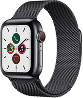 Apple Watch Series 5 40 mm Caja de acero inoxidable negro espacial con pulsera Milanese Loop negro espacial [Wifi + Cellular]