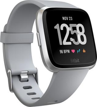 Fitbit Versa 34 mm aluminium zilver met siliconen armband [wifi] grijs