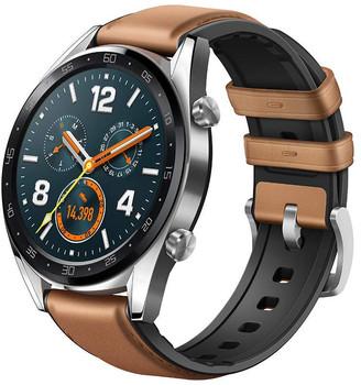 Huawei Watch GT 46,5 mm zilver met lederen-siliconenarmband bruin