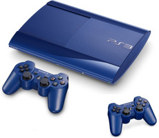Sony Playstation 3 Super Slim 500 Go bleuee [incl. deux manettes sans fil]