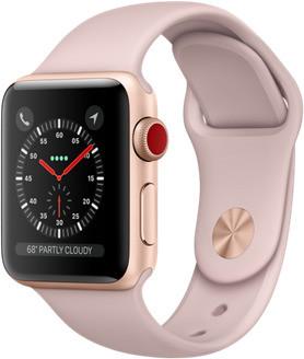 Apple Watch Series 3 38mm cassa in alluminio oro con cinturino Sport rosa sabbia [Wifi + Cellular]