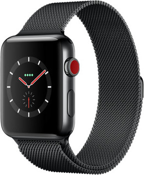 Apple Watch Series 3 42mm Caja de acero inoxidable negro espacial con pulsera Milanese Loop negro espacial [Wifi + Cellular]