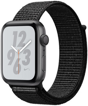 Apple Watch Nike+ Series 4 44 mm aluminium spacegrijs met geweven Nike sportbandje [wifi] zwart