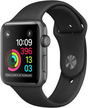 Apple Watch Series 1 42 mm spacegrijs aluminium met sportarmband zwart [wifi]