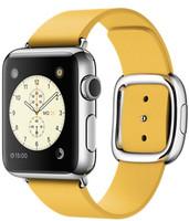 Apple Watch 38 mm grise bracelet en cuir taille M jaune orangé [Wi-Fi]