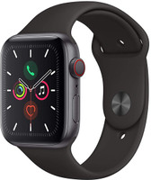 Apple Watch Series 5 44 mm Aluminiumgehäuse space grau am Sportarmband schwarz [Wi-Fi + Cellular]