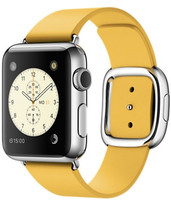 Apple Watch 38 mm grise bracelet en cuir taille S jaune orangé [Wi-Fi]