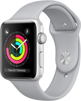 Apple Watch Series 3 42mm cassa in alluminio argento con cinturino Sport azzurro nebbia [Wifi]