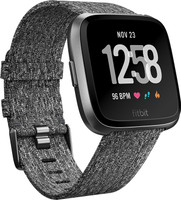 Fitbit Versa 34 mm aluminium zwartgrijs met geworven stoffen armband [wifi] grijs