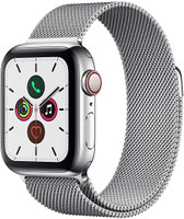 Apple Watch Series 5 40 mm Edelstahlgehäuse silber am Milanaise Armband silber [Wi-Fi + Cellular]