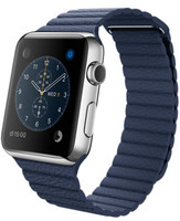 Apple Watch 42mm argento con cinturino Loop Medium in pelle blu [Wifi]