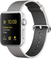 Apple Watch Series 2 42 mm - Boîtier aluminium argent et bracelet nylon tissé perle [Wi-Fi]