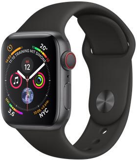 Apple Watch Serie 4 40 mm alloggiamento in alluminio space grigio con Loop sportivo nero [Wi-Fi + Cellular]