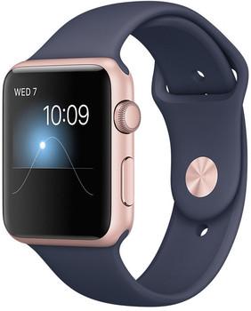 Apple Watch Series 2 42 mm roségoud aluminium met sportarmband middernachtblauw [wifi]