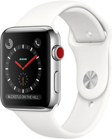 Apple Watch Series 3 42 mm edelstaal zilver met sportarmband wit [wifi + cellular]