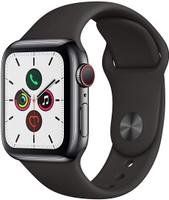 Apple Watch Series 5 40 mm Edelstahlgehäuse space schwarz am Sportarmband schwarz [Wi-Fi + Cellular]