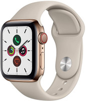 Apple Watch Series 5 40 mm Caja de acero inoxidable oro con correa deportiva piedra [Wifi + Cellular]