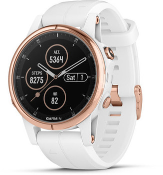 Garmin Fenix 5S Plus 42 mm or rose au bracelet en silicone blanc [Wifi, Saphir Edition]