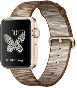 05c2929d8ef Apple Watch Series 2 42mm Caja de aluminio en oro con correa de nailon  trenzado café. ‹ ›