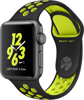 Apple Watch Nike+ Series 2 38 mm spacegrijs aluminium met Nike sportarmband zwartvolt [wifi]