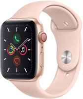 Apple Watch Series 5 44 mm Aluminiumgehäuse gold am Sportarmband sandrosa [Wi-Fi + Cellular]