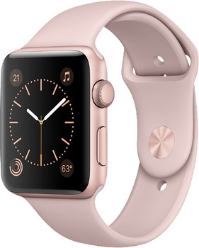 Apple Watch Series 2 42 mm aluminium rozegoud met sportarmband roze [wifi]