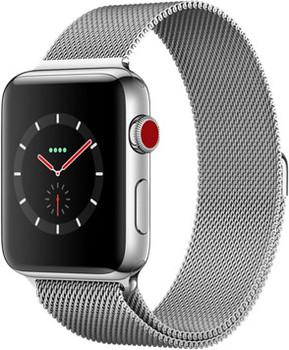 Apple Watch Series 3 42mm cassa in acciaio inossidabile argento con Loop in maglia milanese argento [Wifi + Cellular]