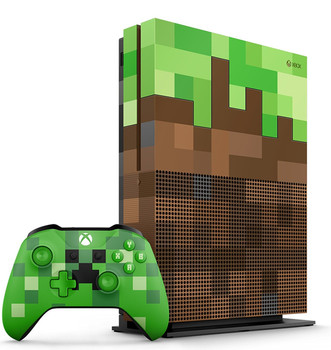 Microsoft Xbox One S 1 TB [Special Minecraft Design incl. controller, standaard, zonder game] bruingroen