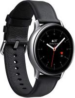 Samsung Galaxy Watch Active2 40 mm Caja de acero inoxidable plata con correa de piel negra [Wifi]