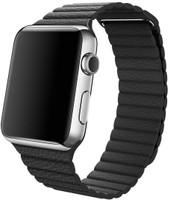Apple Watch 42 mm zilver met leren bandje Large zwart [wifi]