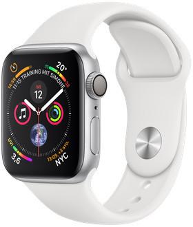 Apple Watch Serie 4 40 mm alloggiamento in alluminio argento con Loop sportivo bianco [Wi-Fi]