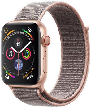 Apple Watch Series 4 44 mm aluminium goud met geweven sportbandje [wifi + cellular] roségoud