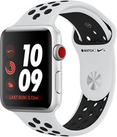 Apple Watch Nike+ Series 3 42 mm aluminium zilver met Nike sportarmband witzwart [wifi + cellular]