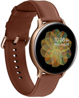 Samsung Galaxy Watch Active2 44 mm Cassa in acciaio inossidabile color oro con cinturino in pelle marrone [Wi-Fi + 4G]