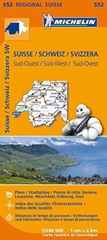Michelin Regionalkarten 552: Schweiz Süd-West - Straßen- und Tourismuskarte 1:200.000 [Landkarte]